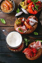 Variety of meat snacks in pretzels Royalty Free Stock Photo