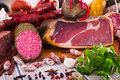 Variety of meats on table Royalty Free Stock Photo