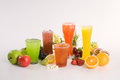Variety mix fruit juice healthy fruits drinks added value of all kind vitamins and fiber Royalty Free Stock Image