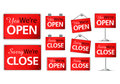 Variety modern open close plate sign on isolated white background