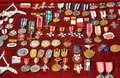 Variety of old medals Royalty Free Stock Photo