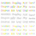The variety of pastel colors alphabet sets calligraphy art vect vector icon series Stock Photos