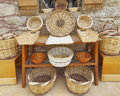Variety of rattan baskets Stock Photography