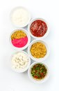 Variety of sauces in white bowls Stock Image