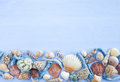 Variety of sea shells and nail on blue wooden background Stock Image