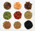 Variety of spices isolated from left to right and up to down black peppercorn himalayan salt clove sesame espelette chili Stock Photo