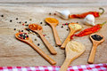Variety of spices on a table Royalty Free Stock Photo
