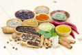 Variety of spices on wooden background Stock Images