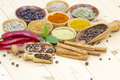 Variety of spices on wooden background Stock Photo