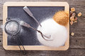 Variety of sugars on a chalkboard black Stock Photography