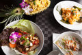 Variety of thai food dishes a on a table Royalty Free Stock Photos