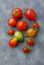 Variety of tomato fruits over painted textile background Royalty Free Stock Photo