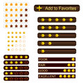 Variety of voting and rating buttons with golden stars Royalty Free Stock Photography