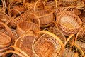 A variety of wicker baskets on the market are waiting for their buyer. Tula, Russia Royalty Free Stock Photo