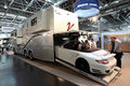Vario mobil rv with built in garage dusseldorf september a at the caravan salon exhibition on september dusseldorf germany Stock Image