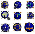 Various aircraft gauges a selection of over a white background Royalty Free Stock Photography