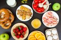 stock image of  Various allergy food on wooden table. Top view