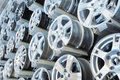 Various alloy wheels Royalty Free Stock Photo