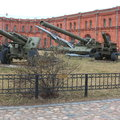 Various artillery systems on the territory of museum in cloudy weather