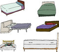 Various bed cartoons isolated of beds over white background Royalty Free Stock Images