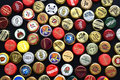 Various beer bottle caps Royalty Free Stock Photo