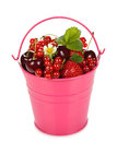 Various berries in a bucket on white background Stock Photography