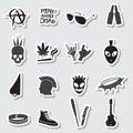 Various black punk stickers set