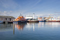 Various boats docked in kirkwall harbour orkney scotland Stock Photos