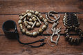 Various bracelets and beads Royalty Free Stock Photo