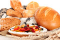 Various bread and fruit pie display Stock Image