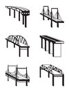Various bridges in perspective vector illustration Royalty Free Stock Images