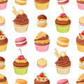 Various bright colorful chocolate desserts . Seamless vector pattern on white background. Royalty Free Stock Photo