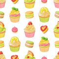 Various bright colorful fruit desserts. Seamless vector pattern on white background. Royalty Free Stock Photo
