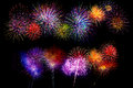 various bright colors fireworks set - Beautiful colorful firewor Royalty Free Stock Photo