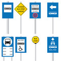 Various bus stop signs Royalty Free Stock Photo