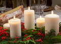 Various Candles On Christmas T...