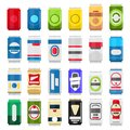 Various cans of beer and coke isolated on white background. Beverages vector flat illustration with beer icons. Drinks Royalty Free Stock Photo