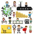 Various Cartoon Concepts of Technology and Economy Royalty Free Stock Photo