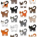 Various cats seamless pattern. Cute and funny cartoon kitty cat vector illustration different cat breeds. Pet kittens of different
