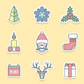 Various christmas outline labels icons set Royalty Free Stock Photo