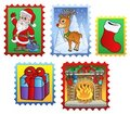 Various Christmas post stamps 2 Royalty Free Stock Images