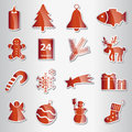 Various christmas red shiny stickers collection Royalty Free Stock Photo