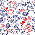 various coffee,cake,cupcake,Sandwich,cookie , appetizer and beverage seamless pattern sketch drawing line by red and blue pen vect