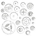Various cogwheels parts of watch movement doodle icons Royalty Free Stock Photo