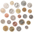 Various coins from different countries isolated over white Stock Photo