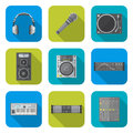 Various color flat style sound devices icons set vector design dj equipment square background Royalty Free Stock Photo
