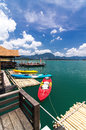 Various color kayak in front of raff on khao sok lake thailand Royalty Free Stock Images
