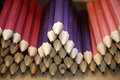 Various colored pencils in row as a creativity selective focus Royalty Free Stock Photo