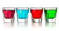 Various colorful liquors the on white background Stock Photography