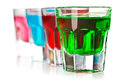 Various colorful liquors the on white background Royalty Free Stock Photography